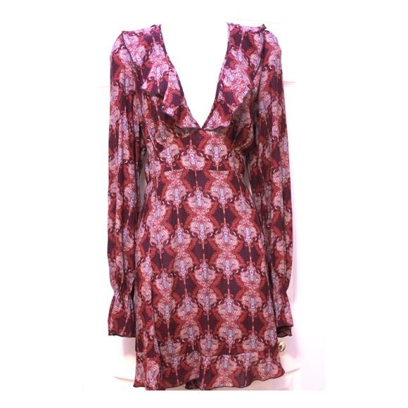 Free People Dresses & Skirts - Free People Purple Bohemian Print Flounce Dress
